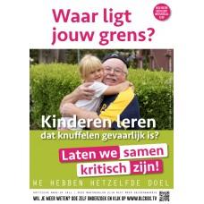 Poster - Waar ligt jouw grens - Kinderen leren dat knuffelen gevaarlijk is? - Set van 5 stuks