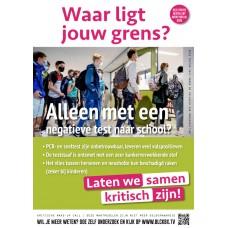 Poster - Waar ligt jouw grens - Alleen met een negatieve test naar school? - Set van 5 stuks