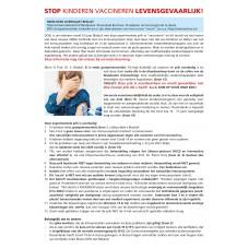 Folder - Stop Kinderen vaccineren - Gevaarlijk!  - set van 10 vel